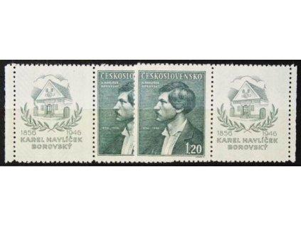 1946, 1.20Kčs Borovský, levý a pravý kupon, Nr.436KL,KP, **