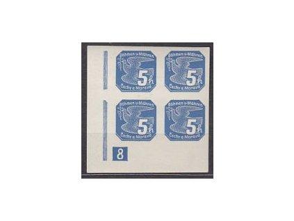1939, 5h modrá, roh 4blok s DČ 8, Nr.2, **