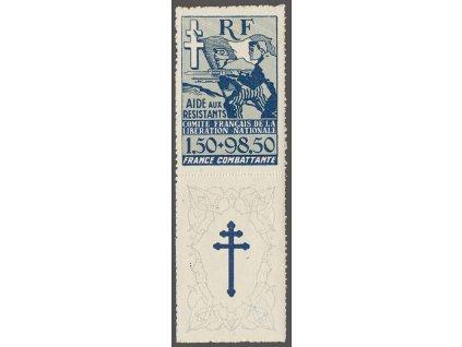 Alžír, 1943, 1.50Fr modrá s kuponem, MiNr.6, ** , zažloutlý lep