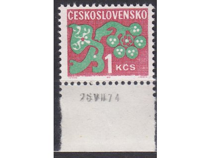 1971, 1Kčs Doplatní, papír oz, kraj. kus s datem tisku, Nr.D97xb, **