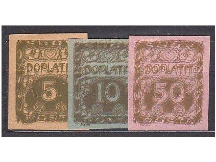 5,10 a 50h, 3 ks ZT na různých papírech, všechny dvojitý tisk, Nr.DL1,2,8, bez lepu