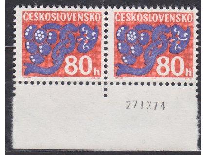 1971, 80h Doplatní, papír oz, kraj. 2páska s datem tisku, Nr.D96xb, **, archový obtisk