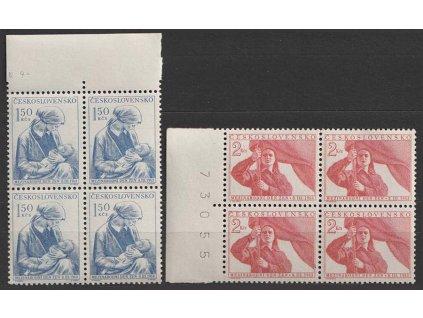 1953, 1.50-2Kčs série MDŽ, 4bloky, Nr.714-15, **