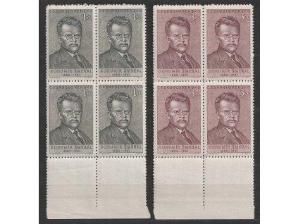 1951, 1.50-3Kčs série Šmeral, 4bloky, Nr.597-98, **
