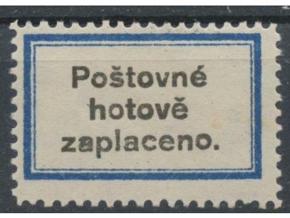Novinová nálepka POŠTOVNÉ HOTOVĚ ZAPLACENO, zk.Lešetický, Nr.NN4, * po nálepce