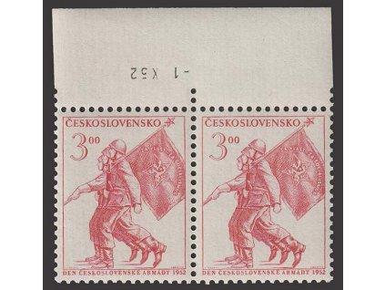 1952, 3Kčs Zástava praporu, obrácenné datum tisku, Nr.689, **