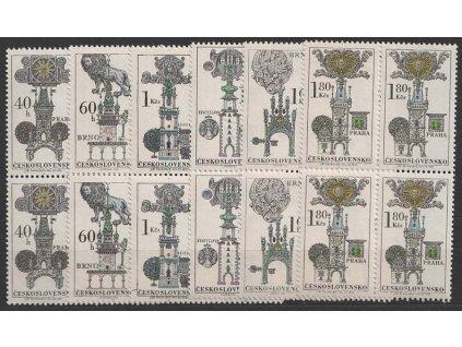 1970, 40h-1.80Kčs série Domovní znamení, 4bloky, **