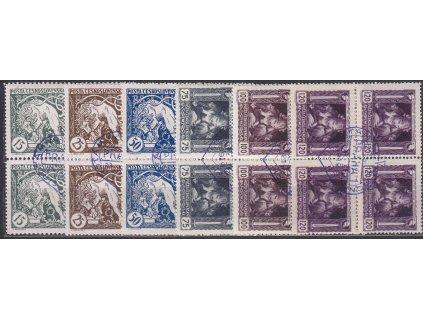 15-120h série, 4bloky, fialové nátisky srdce, Nr.27-32, **/*