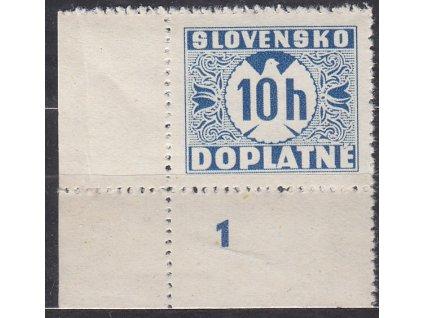 1939, 10h modrá, hladký lep, roh. kus s DČ 1, Nr.DL2, **