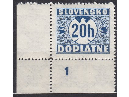 1940, 20h modrá, průsvitka 2, roh. kus s DČ 1, Nr.DL15, **