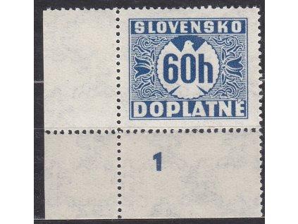 1940, 60h modrá, průsvitka P1, roh. kus s DČ 1, Nr.DL19, **