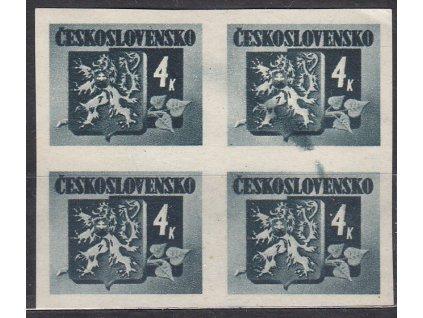 1945, 4K Bratislavské, 4blok s výraznou barevnou skvrnou mezi zn., Nr.369, **