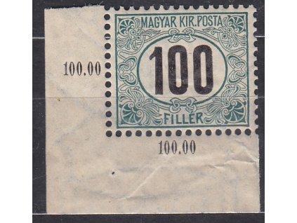 100f Doplatní - černé číslo, rohový kus, zn. platná v ČSR, **, vlomy