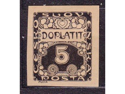 5h černá, ZT na nahnědlém papíru, Nr.DL1, bez lepu