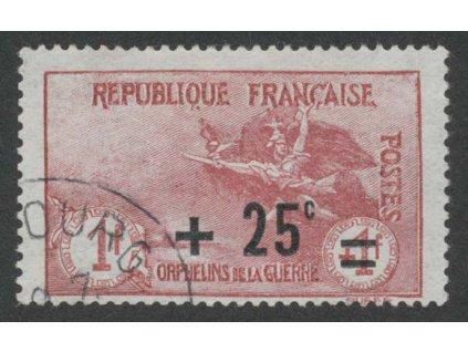 1922, 1 Fr + 25 C Válečná, MiNr.150, razítkované