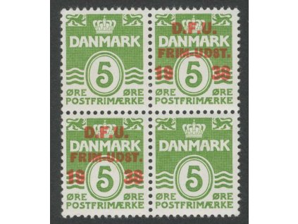 1938, 5Q zelená, 4blok, varianty přetisků, MiNr.243, **