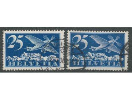 1923, 25 C letecká, 2 ks - papíry, MiNr.180x,180z, razítkované