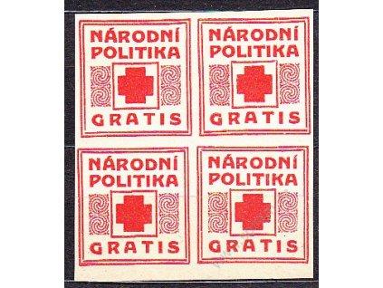 Novinová nálepka NÁRODNÍ POLITIKA GRATIS, 4blok, Nr.NN17, **
