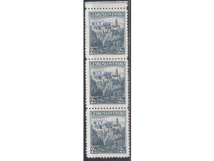 1937, 2Kč B.I.T., kraj. 3páska s posunem přetisku, Nr.328, **