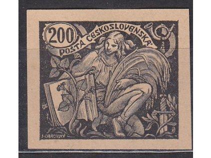 200h černá, nezoubk. ZT na nahnědlém papíru, Nr.165, bez lepu