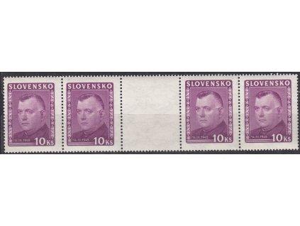 1945, 10Ks Tiso, 4známkové meziarší, Nr.125S, **