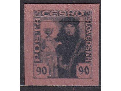 90h černá, nezoubk. ZT na růžovém papíru, Nr.163, bez lepu