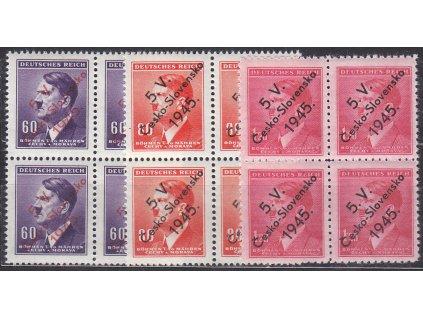60h-1.20K Hitler, 3 hodnoty s přetiskem 5.V.ČESKOSLOVENSKO 1945, 4bloky, **