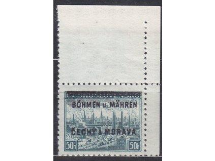 1939, 50h Plzeň, pravý horní roh. kus - bez tečky, Nr.7, **