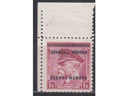 1939, 1K Masaryk, levý horní roh. kus, Nr.10, **