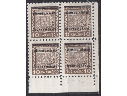 1939, 10h Znak, pravý dolní roh. 4blok, Nr.2, **, dvl