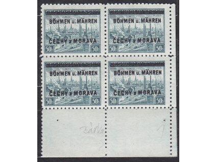1939, 50h Plzeň, pravý dolní roh. 4blok - s tečkou, Nr.7, **