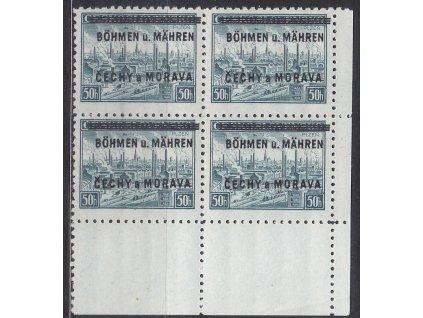 1939, 50h Plzeň, pravý dolní roh. 4blok - bez tečky, Nr.7, **