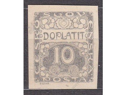 10h černá, ZT na nahnědlém papíru, slabý tisk, Nr.DL2, bez lepu