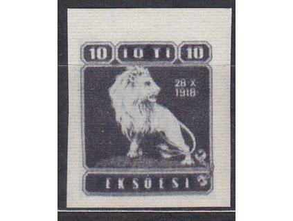 Nerealizovaný návrh na čs zn. 10h Lev na známkovém papíru s lepem, **, cca 1920