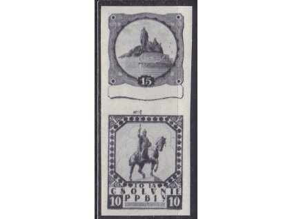 Nerealizovaný návrh - soutisk zn. 10 a 15h Hus, sv. Václav na známkovém papíru s lepem, **, cca 1920