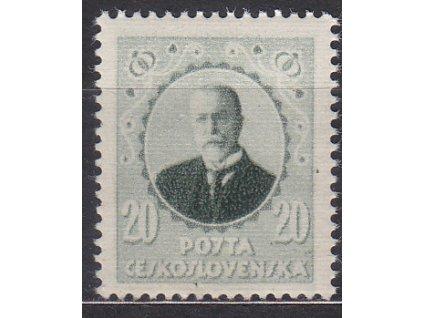 Nerealizovaný návrh na čs. zn. 20h Masaryk v barvě zelené na známkovém papíru s lepem, tiskárna HAASE, * po nálepce