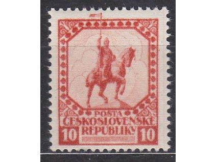 Nerealizovaný návrh na čs. zn. 10h sv. Václav v barvě červené na známkovém papíru s lepem, tiskárna HAASE, * po nálepce