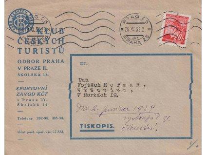 1939, DR Praha 20.11., tiskopis zaslaný v místě, lehká omačkání
