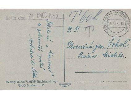 Schönborn 19.7.1945, pohlednice zaslaná nevyplaceně do Prahy