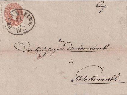 1862, DR Prag Kleins, skládaný dopis zasl. do Schlakenwerthu