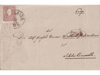 1859, DR Prag Kleins, skládaný dopis zasl. do Schlakenwerthu