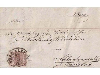 1854, DR Prag Kleins, skládaný dopis zasl. do Schlakenwerthu