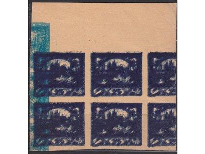 ZT 25h modrá v krajovém 4bloku - násobný tisk na nahnědlém papíru bez lepu