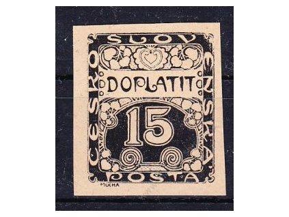 1919, 15h černá, nezoubkovaný ZT na nahnědlém papíru, Nr.Nr.3, bez lepu