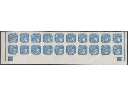 1943, 5h modrá, 20pás s DČ 4-43 - rám nepřerušen, Nr.NV11, **