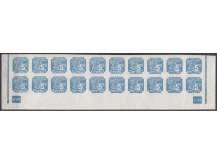 1943, 5h modrá, 20pás s DČ 6-43 - rám nepřerušen, Nr.NV11, **