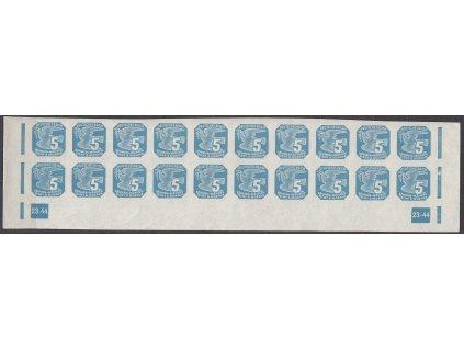 1943, 5h modrá, 20pás s DČ 23-44, Nr.NV11, **