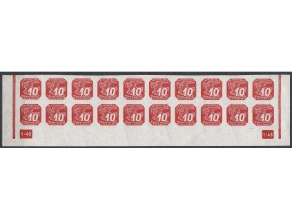 1943, 10h červená, 20pás s DČ 1-43 - rám nepřerušen, Nr.NV14, **