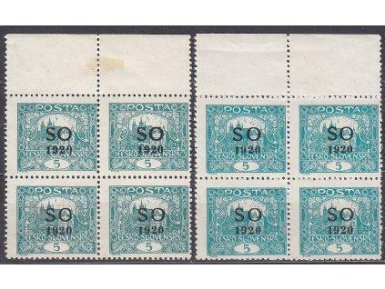 5h modrozelená a tmavě zelená, Hz.11 3/4, 2 kraj. 4bloky, Nr.SO3C, **