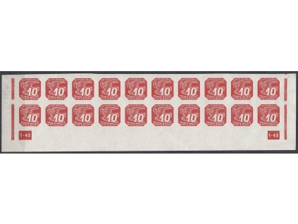 1943, 10h červená, 20pás s DČ 1-43 - rám přerušen, Nr.NV14, **